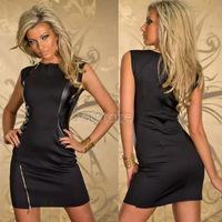 New Rock Black Design Dress Top Fashion Faux Leather Dance Club Wear Style Patchwork Women Clothes Novelty Zipper Dresses 6910