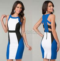 2014 TOP Quality Women Fashion Sexy Patchwork Color Bandage White Blue Dress Clubwear Back Zipper Office Dresses Plus size 6908