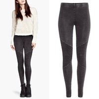 2014 New Trendy Hot Women Winter Vintage Retro Washed Stitching Leggings Skinny Pencil Pants Trousers