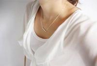 Fashion Elegent Women Horizontal Metal Bar Gold/Silver Plated Petite Pendant Necklace Modern Mini Choker Necklace New Arrival