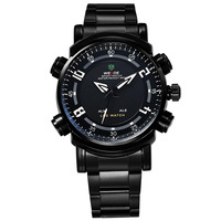 WEIDE Men Sports Watches Date Day Alarm Dual Time Illuminated Multi-purpose Wristwatch Full Stainless Steel Military Watch