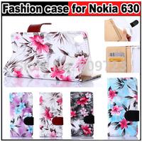 Fashion Beautiful flowers Hasp Flip Leather bag TPU Case Card Holder For Nokia Lumia 630 635  Free shipping