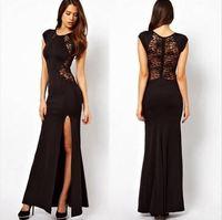 bust chest 100cm 84-100cm Long dress vestidos thin slit sexy hollow lace dress club dress ropa de mujer roupas femininas