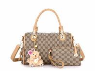 Hot Seller! Ladies Shoulder Messenger Handbags Khaki Tote Handbag Multifunctional Leather Clutch Bags Bear Charm Christmas Gifts