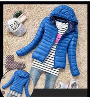 Womens Winter Casual Warm Thin Slim Down Jacket New Fashion 2014 Female Cotton Hooded Coat Women's Parka Windbreaker Outerwear