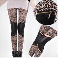 2014 autumn new European imitation leather leggings leopard zipper stitching bottoming pantyhose