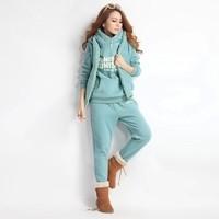 HOT 2015 Spring Winter Warm Sports Thick Hoodies High Quality women's sweatshirt hoody 3pcs/set Fashion Outerwear Coat Jacket
