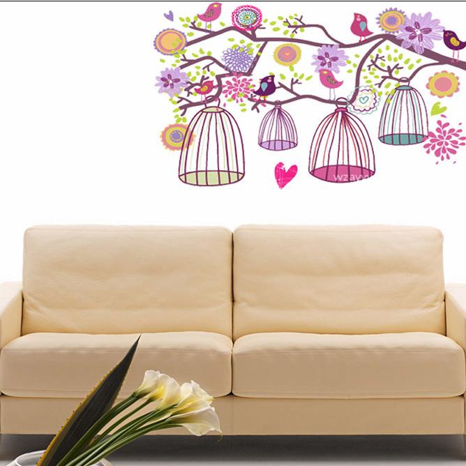 frete grátis novas aves gaiolas parede adesivos decoração quarto casamento fundo da tevê quarto 70x100cm arte mural(China (Mainland))