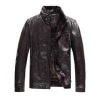 2014 New Arrival Men's Genuine Sheepskin Leather Jackets Outwear Coat With Huge Real Detachable Soft  Fur Collar HMED3K644