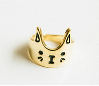 fashion 18K Gold vintage ring Cat Rings for Women Jewelry