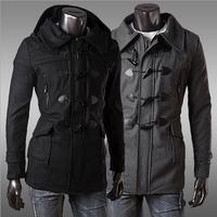 Coat Horn Casual dress 2014 new Slim Men clothes Fashion Long sleeve Male Autumn Keep warm Spring Winter Plus size XXL danz036