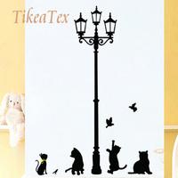 Black  DIY Home Decor Cat Bird Lamp Wall Sticker stickers for Kids room Poster adesivo de parede decals adesivos decorativos d12