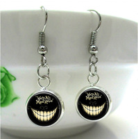 HE75 Black Alice in Wonderland We're all Mad Here Silver Fish hook Earrings Bronze girls glass cabochon