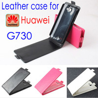 2014 new arrival High Quality FOR HUAWEI G730 Leather Case Flip Phone Cover In Stock Free Shipping