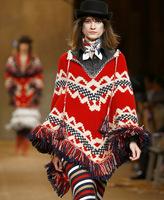 New 2014 Autumn Winter Coat Women's Wool Knitted Tassel Bat Sleeve Cape Outerwear