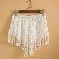 New Women Lace Embroidery Feminina Shorts Rendas Encajes Embellished Embroidered Lace Trim Tassel Floral Bermudas Pants
