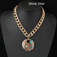 Fashion Chunky Gold Plated Chain Statement Choker Collar Bib Flower Coloured glaze Stone Pendant Necklace Women Jewelry Item,C41