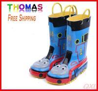 [LoLo Mommy] Free Shipping 19-23.5cm Kids Rain Shoes Thomas Design Girls Boys Rubber Rain Boots