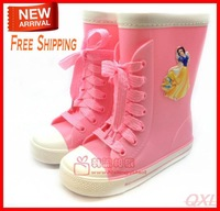 [LoLo Mommy]Free Shipping 2013 New 17.5-20cm Princess Carton Design Pink Fashion Rain Boots For Children Girls