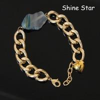 Fashion Blue / Purple Nature semi-precious Agate Stone With Gold link Chain Heart Pendant Bangle Bracelet Women Jewelry Item C42
