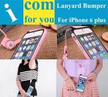 Hang On Neck Nylon Lanyard Strap Frame Bumper for iPhone 6 Plus 5.5(China (Mainland))