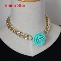 Fashion Chunky Gold Plated Heavy Chain Statement Choker Collar Bib Big Coral Flower Pendant Necklace Women Jewelry Item,C44