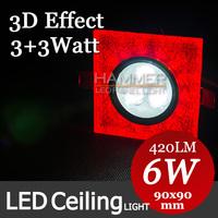 3D Effect 6 Watt Square LED Crystal Ceiling Light Recessed Kitchen Bathroom Lamp AC85-265V LED Down light Warm White/Cool White