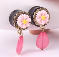free shipping round resin classical Pink flower pendant of crystal ear plugs tunnel taper gague piercing body jewelry