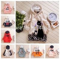 [Amy] 2014 NEW women cotton s hoodies good quality Animal printed fleece inside warm casual Hooded women's long sweatshirts