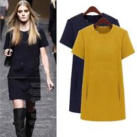 European and American plus size 2014 autumn new woolen dress, dresses for women, womens dresses, plus size women clothing