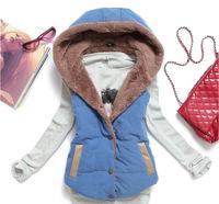 2014 winter  women's fashion wild cotton vest coral velvet hooded