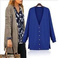desigual women plus size long thin woolen cardigan long-sleeved knit shirt, coat for women, jaqueta, women sweater, black coat,