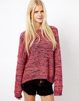 Free Shipping New Fashion Autumn And Winter Ladies Sweet Rainbow Blended Knitted Sweaters