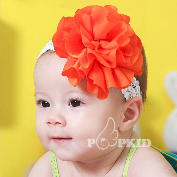 Free Shipping Big Shiny Orange Flower Pattern Baby Hair Band, New Lace Elastic Kids Headbands, Hair Accessory(China (Mainland))