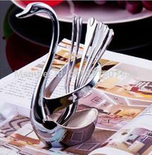 Novelty 6pcs Swan shaped Stainless Steel Fruit Dessert Spoon Fork Tableware Set(China (Mainland))