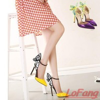 2014 New Party High Heels Genuine Leather Women Pumps  Ladies Night Club Shoes Thin Woman Brand Butterfly Wing Pump For Lady