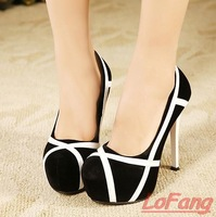 Brand Weomen Shoe 2014 Thick Heel Platforms Black Suede Pumps Closed Toe Suede Pump Sexy Black and White Shoes Ladies High Heels