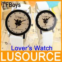2pcs/lot Fashion Lover's Watch/ Male Female Fashion trends Best Birthday Christmas Gifts PU Leather Wrist Quartz Watch Wholesale