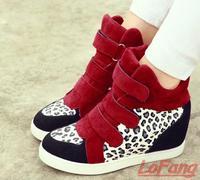 2014 Autumn Wedge High Heels Sneakers Women Height Increasing Shoes Woman Fall Leather PU Sneaker Ladies Leopard Shoe Velcro