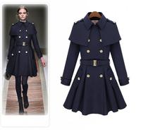 Winter Women T weed Coat 2014 Fashion Wool & Blends Capelet Turn-Down Collar Double Breast Long DarkBlue Outerwear XL XXL Khaki