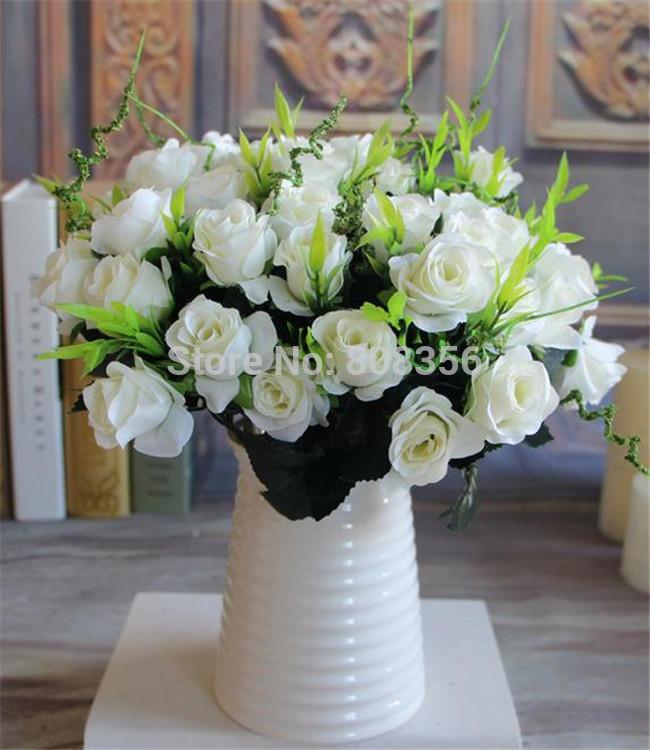 """NEW Silk Rose Bush, 31 centímetros / 12.2 """" Comprimento 24pcs rosas artificiais Meio Aberto 7 Hastes 11 cabeças para Props fotografia da flor do casamento(China (Mainland))"""