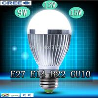 Factory diectly sale 100pcs/lot led Bubble Ball Bulb globe bulb E27 GU10 B22 E14 9W 12W 15W AC85-265V led Globe Light Bulb lamps
