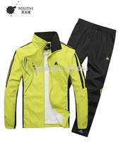 2014 spring autumn male casual sportswear men's turn-down collar track suit sports set (overcoat+pants)running sports wear