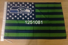 Seattle Seahawks with modified US Flag 3ft x 5ft Polyester NFL Banner Flying Size No.4 144* 96cm Custom flag(China (Mainland))