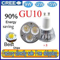 Factory directly sale 5pcs/lot CREE Bulb led bulb GU10 9w 12W 15W 110V 220V Dimmable led Light led lamps spotlight free shipping