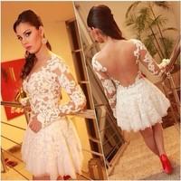 2014 New Arrive Long Sleeve femininas white prom lace patchwork mini dress vestidos de festa  Free Shipping