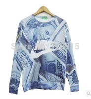New 2014 women/men sportswear money print sweatshirt high quality sport sweaters novely funny 3d casual pullover hoodies