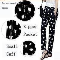 pants women prints floral Big yards loose chiffon harem pants women 2014 autumn Korean trousers black white