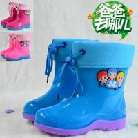 2014 kids patterned children rain boots children's PVC Cristal rain add cotton shoes for babys  boys girls waterproof antislip