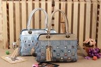 2014 new denim diamond large capacity bag handbag casual denim bag free shipping f3t4g4